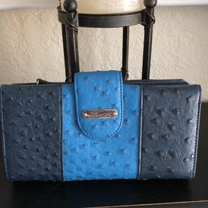 Buxton Blue Ostrich Textured Faux Leather Wallet